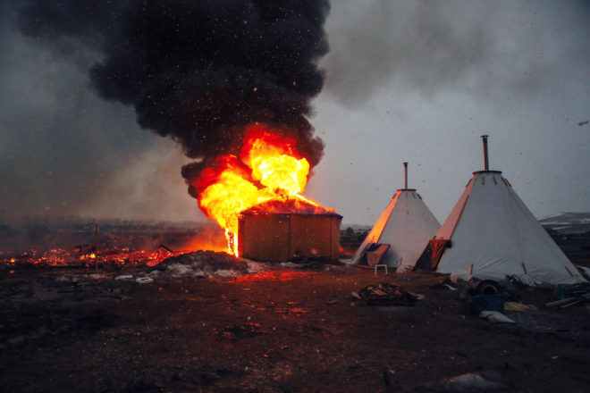 Photo of the Week: The Dakota Access Pipeline Protest Ends in Flames